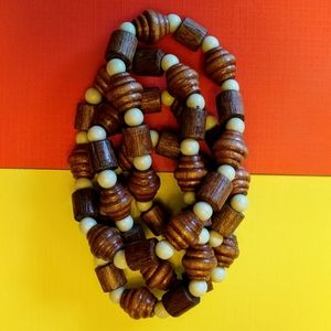 Wooden bead layering necklace